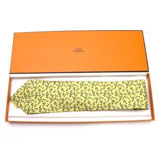 Hermes Green Leaf Print Tie
