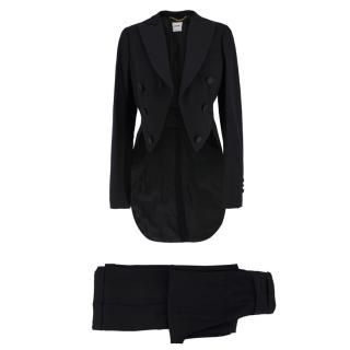 Moschino Wool Cropped Blazer With Tails & Wide Leg Pant Suit
