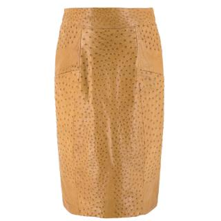 Jitrois Tan Ostrich Leather Skirt