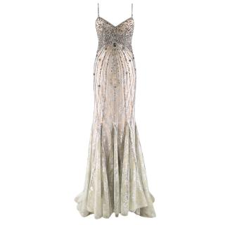 Bespoke Crystal Embellished Lace Gown
