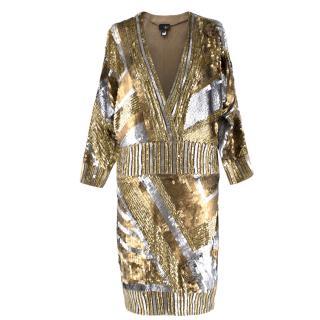 Just Cavalli Silver & Gold Metallic Sequin V-neck Dress