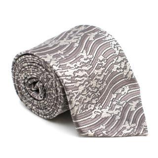Giorgio Armani Grey Metallic Abstract Pattern Silk Tie