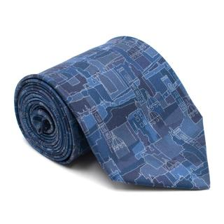 Salvatore Ferragamo Abstract Blue City Print Silk Tie