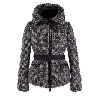 Moncler Black and White Tweed Down Jacket