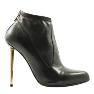 Tom Ford Black Gold Stiletto Ankle Boots