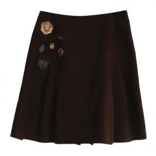 Miu Miu Heraldry Badge Wool Skirt