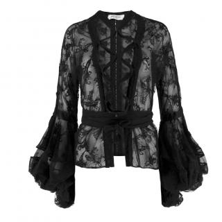 Yves Saint Laurent Lace Balloon Sleeve Lace-up Top