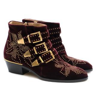 Chloe Susanna Burgundy Velvet Studded Ankle Boots