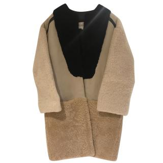 Claudie Pierlot Shearling & Leather Coat