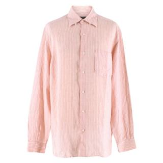 Ermenegildo Zegna Pink Pinstripe Linen Shirt