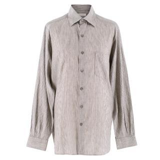 Ermenegildo Zegna Grey Pinstripe Linen-blend Shirt