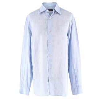 Ermenegildo Zegna Light Blue Pinstripe Linen Shirt