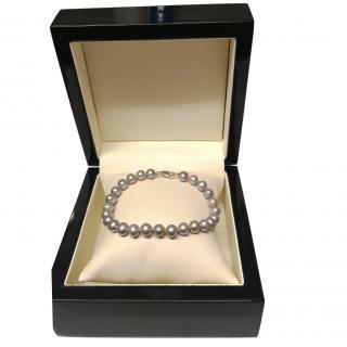 Bespoke Silver Freshwater Pearl Bracelet High Lustre 9ct Gold