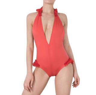 Moré Noir Chilli Red Ruffled Swimming Costume