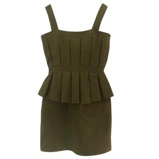 Balmain khaki green peplum dress