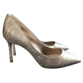 Jimmy Choo ROMY 85 Metallic Lame Fabric Heels