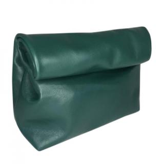 Clinch leather rolled clutch bag