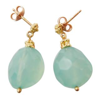 Links London 18ct Gold & Chrysoprase Drop Earrings New