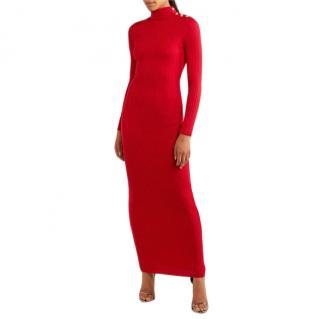 Balmain Button-Embellished Ribbed Merino Wool Maxi Dress