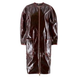 Zaid Affas Burgundy Laminated Wool Cocoon Coat