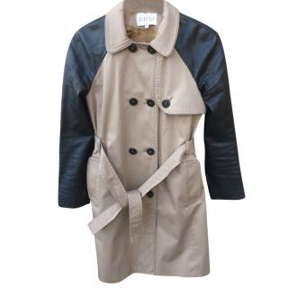 Claudie Pierlot trench coat with black leather sleeves