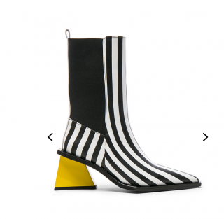 Marques Almeida Striped Ankle boots with A and M heels