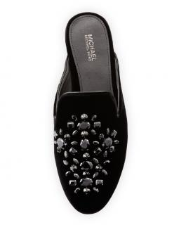 Michael Michael Kors Black Velvet Embellished Leather Slide Mules