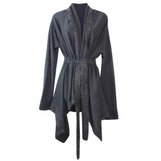 NICOLE FARHI Long Wrap Cardigan