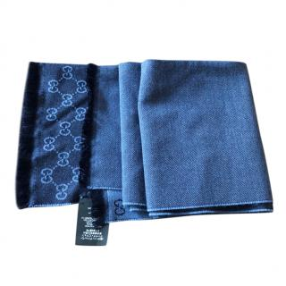 Gucci Blue Monogram Wool Scarf - Never Worn With Box