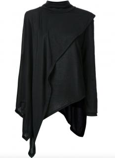 Max.Tan Aysemmetric long sleeve black sweater Cape