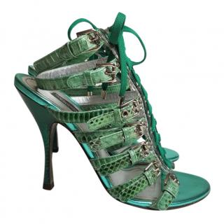 Dolce & Gabbana Green Python Effect Leather Lace up Sandals