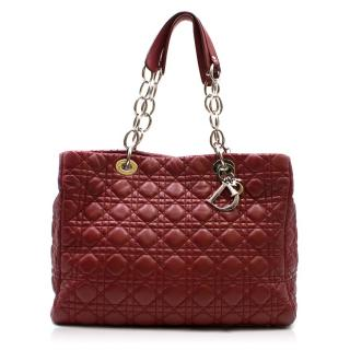 Christian Dior Burgandy Lambskin Quilted Cannage Tote