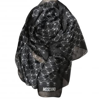 Moschino Black & White silk scarf