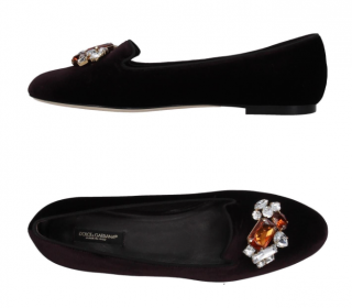Dolce & Gabbana Velvet Embellished Flats