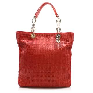 Dior Red Leather Woven Shopping Tote