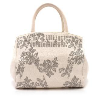 Ermanno Scervino Off White Floral Crystal Embellished Bag
