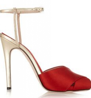 Giambattista Valli Raso satin and metallic leather sandals