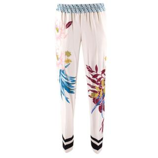 Etro White Floral Trousers