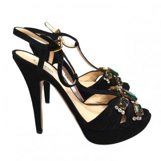 Prada Black Suede Crystal Embellished Sandals