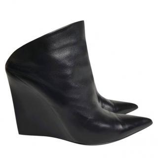 Balenciaga Black Leather Boveney Wedge Mules