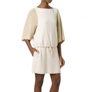 See by Chloe crepe dress with crochet sleeves