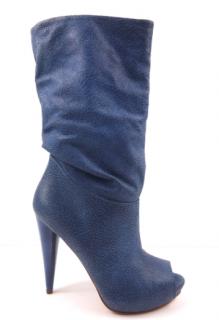 MCQ Blue Leather Peep-toe Boots