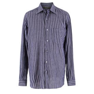 Ermenegildo Zegna Blue Linen-blend Shirt