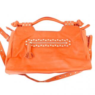 Temperley Electric Coral Leather Studded Bag w/Removable Strap