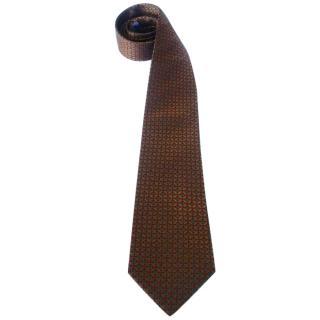 Christian Dior Pumpkin Orange Woven Silk Neck Tie