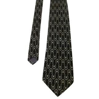 Loris Azzaro Black Ivory Horse Shoes and Stars Silk Neck Tie