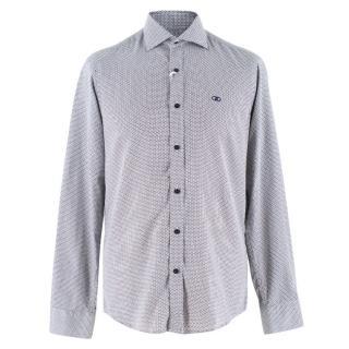 Salvatore Ferragamo White and Navy Patterned Shirt