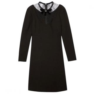The Kooples Lace Neck Crepe Black Dress