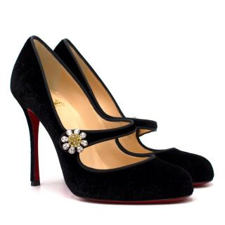 Christian Louboutin Black Booton MJ 85 Crystal Strap Velvet Pumps