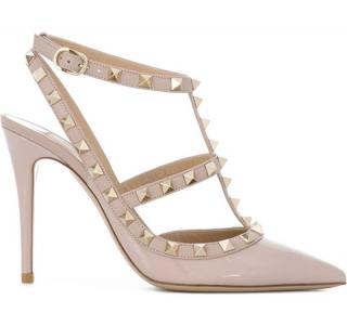 Valentino rockstud nude leather t-strap sandals